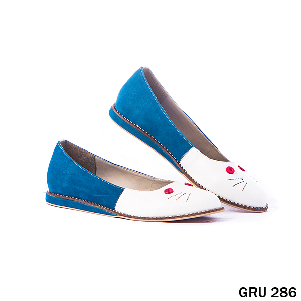 Female Flat Shoes Bludru Synthetic Fiber Biru Kombinasi