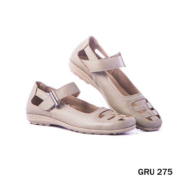 Female Flat Shoes Leather TPR Cream
