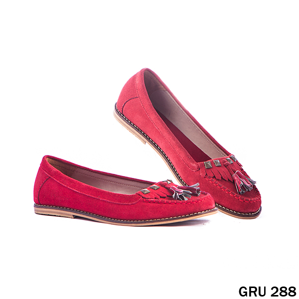 Female Flat Shoes Suede Fiber Merah