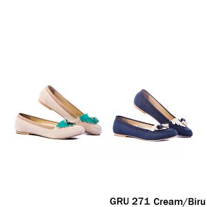 Female Flat Shoes Synthetic Biru Kombinasi – GRU 271 Biru