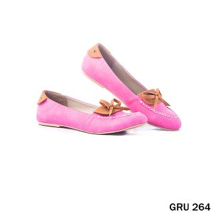 Female Flat Shoes Synthetic Fiber Merah Pink – GRU 264