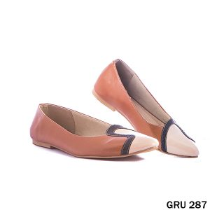 Female Flat Shoes Synthetic Fiber Tan – GRU 287
