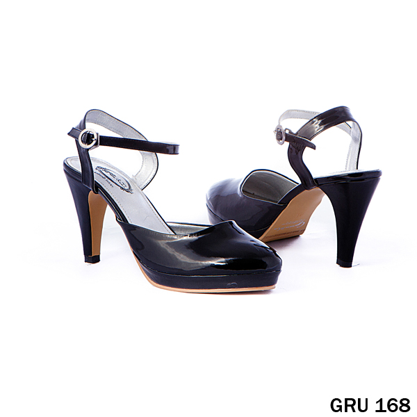 Sandal High Heels Synthetic Lak Fiber Hitam