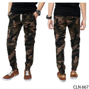 Jogger Pants For Army Green Stretch Loreng – CLN 667