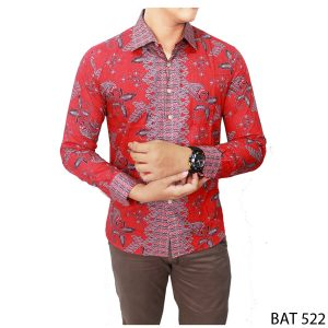 Batik Long Sleeve Shirt Katun Kombinasi Warna – BAT 522