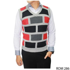 Knit Vest For Men Rajut Kombinasi Warna – ROM 286