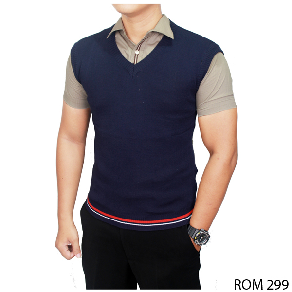 Male Vests Fashion Rajut Dongker