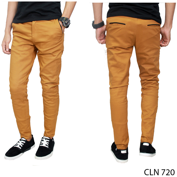 Chino Pants Pria Stretch Coklat