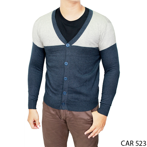 Male Knitted Cardigan Rajut Kombinasi Warna