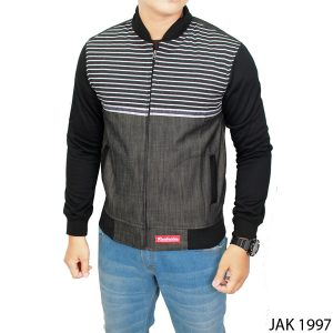 Mens Fleece Jacket Fleece Kombinasi Jeans Abu Kombinasi – JAK 1997