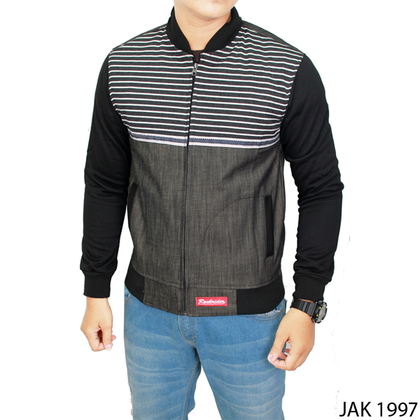 Mens Fleece Jacket Fleece Kombinasi Jeans Abu Kombinasi