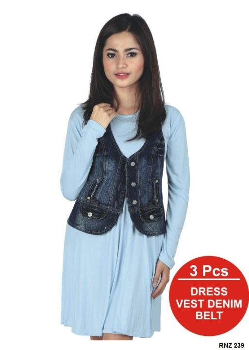 Dress Trendy Spandex Biru