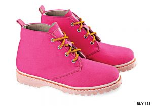 Female Boots Shoes Canvas Sol Karet Pink – BLY 138