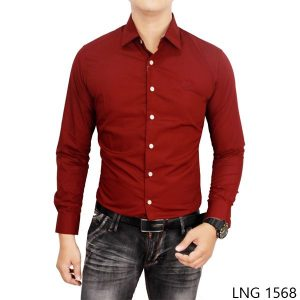 Formal Shirt For Mens Katun Maroon – LNG 1568