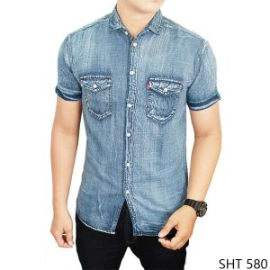 Male Denim Shirt Soft Jeans Biru Kombinasi – SHT 580