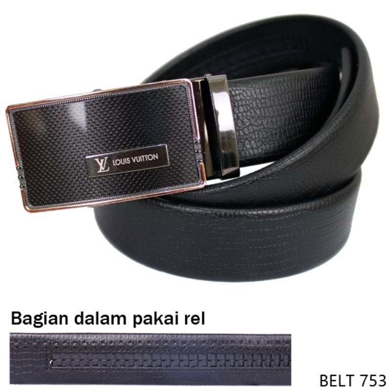 Mens Belt Fashion Semi Kulit Hitam