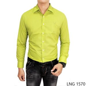 Mens Slim Fit Formal Shirts Katun Hijau Stabillo – LNG 1570