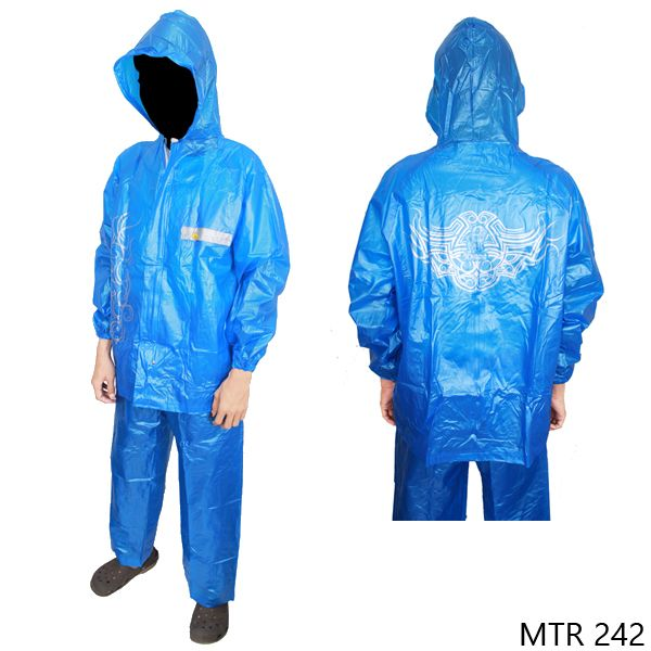 Raincoat For Motorcycle Riders Parasut Taslan Biru