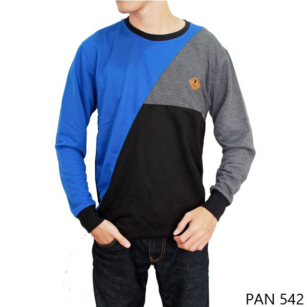 Long Sleeve Tshirt Mens Katun Kaos Biru
