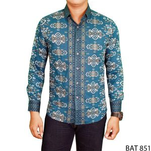 Formal Slimfit Mens Long Sleeve Batik Katun  Hijau  – BAT 851