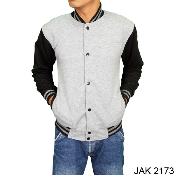 Jacket Distro Model Baseball Fleece Abu