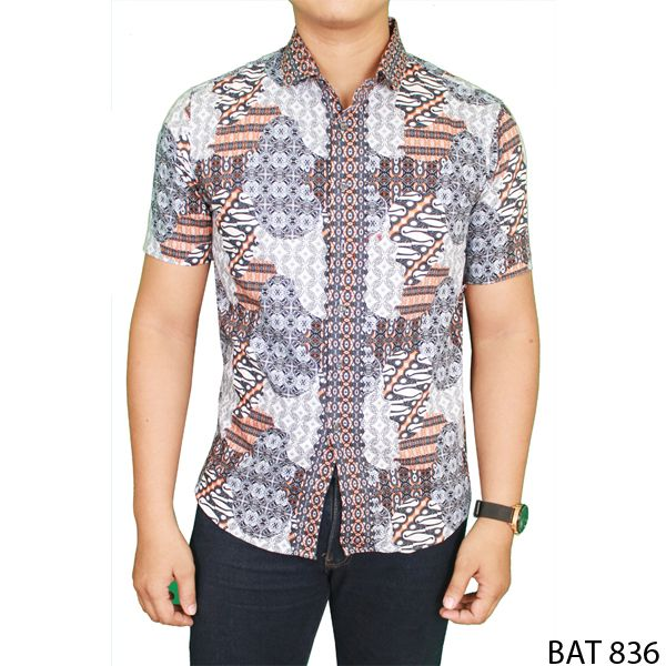 Man Slim Fit Batik Katun  Abu
