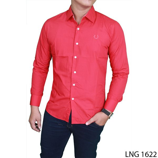 Man Slimfit Formal Office Shirts Katun Merah