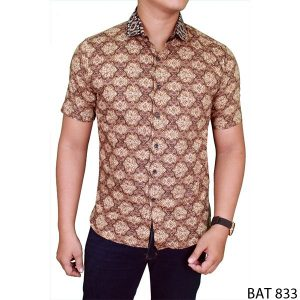 Men Batik Short Shirt Katun  Coklat – BAT 833