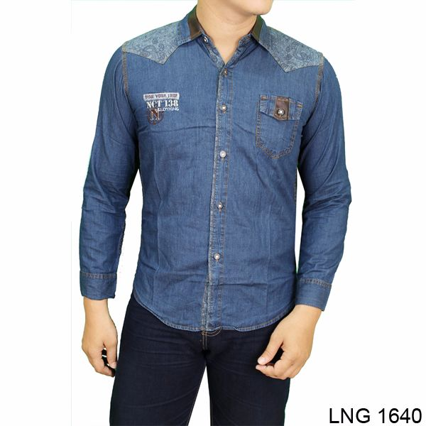 Men Clothing Casual Shirts Denim Biru