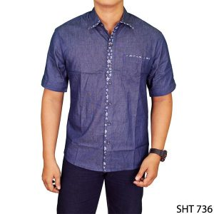 Men Fashion Casual Plain Slimfit Shirts Katun Navy – SHT 736