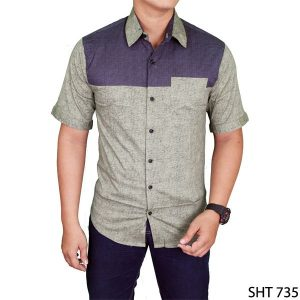 Men Plain Slimfit Shirts Katun Hijau – SHT 735