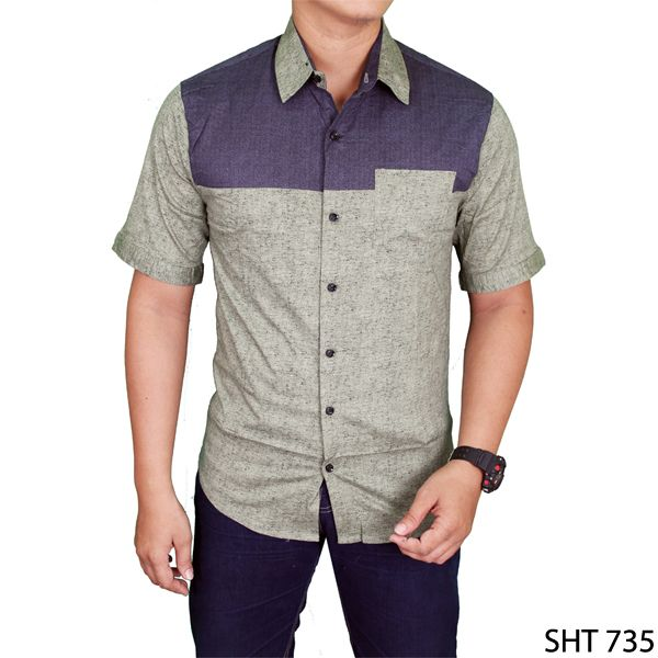 Men Plain Slimfit Shirts Katun Hijau
