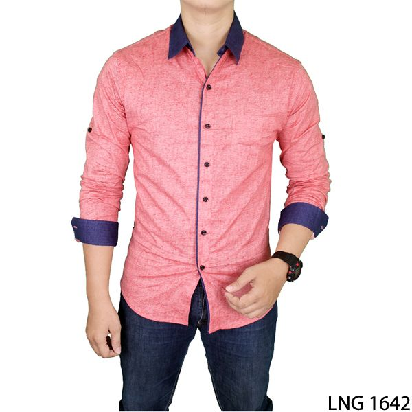 Mens Fashion Long Sleeve Slim Fit Breathable Casual Shirts With Pointed Collar Katun Merah
