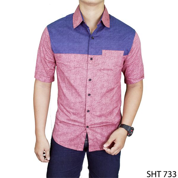 Mens Fashion Plain Shirts Katun Merah