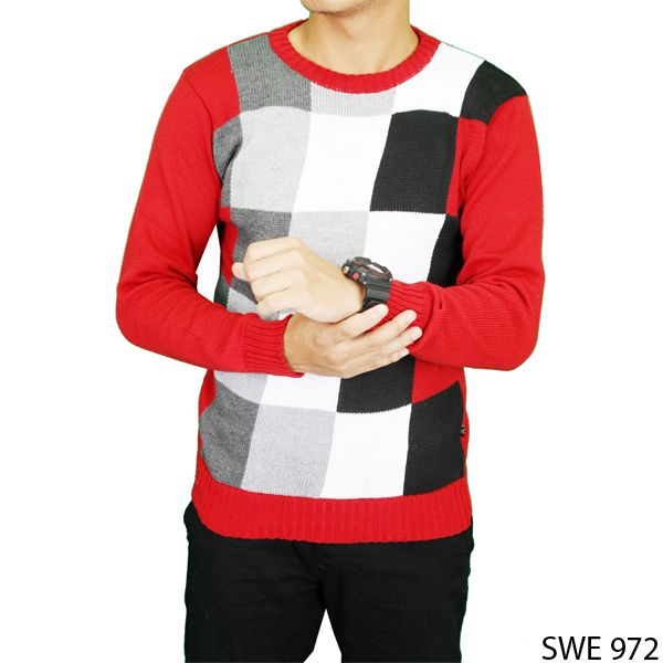 Mens Fashion Sweater Vest Rajut Merah