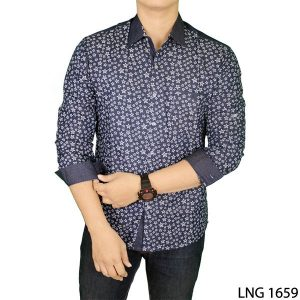 Mens Slim Casual Long Sleeve Stylish Shirts Katun Navy – LNG 1659