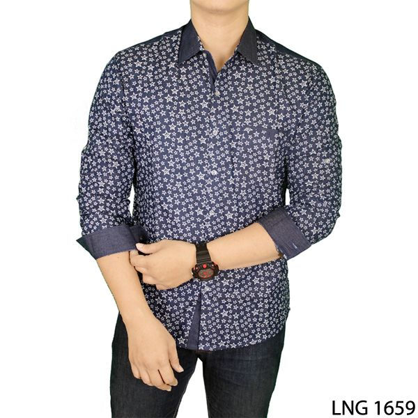 Mens Slim Casual Long Sleeve Stylish Shirts Katun Navy