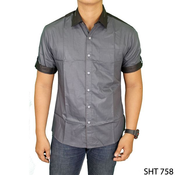 Mens Stylish Slim Casual Short Sleeved Shirts Katun Abu