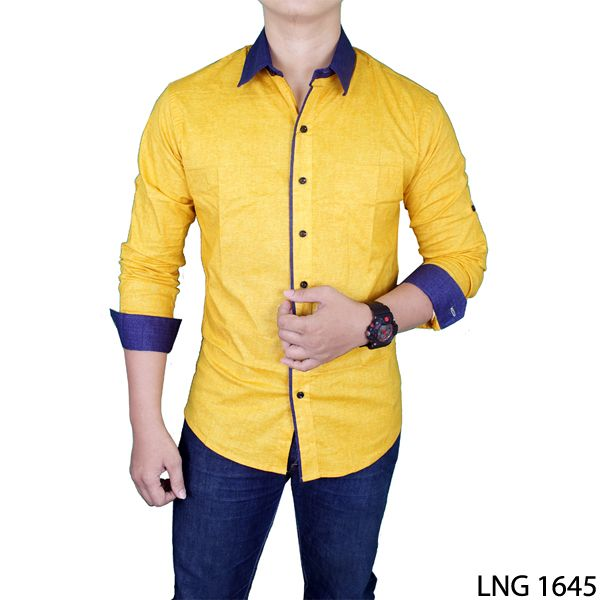 Slim Fit Casual Long Sleeve Man Shirts Katun Kuning