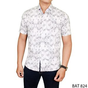Slimfit Formal Batik For Male Katun  Putih – BAT 824