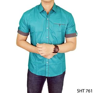 Stylish Shirt For Man Katun Hijau – SHT 761