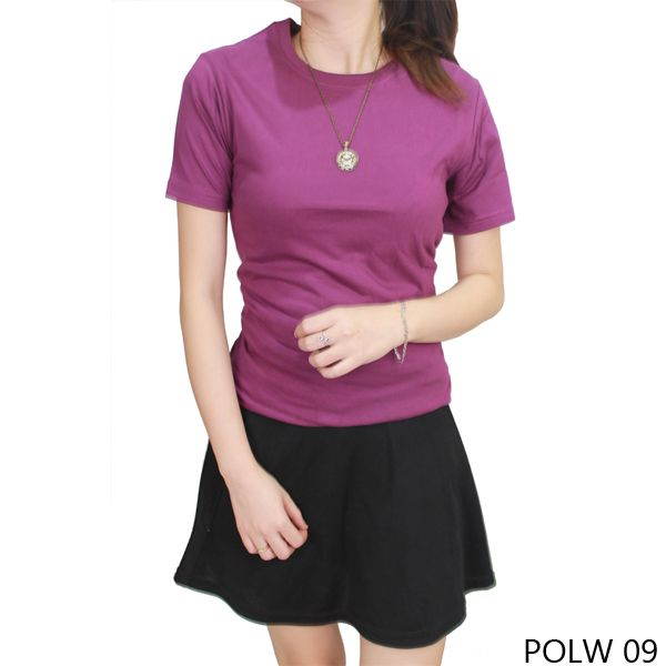 Basic Tshirt Wanita 100% Cotton Pique Ungu