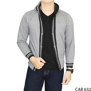 Cardigan Modis Pria Fleece Abu Muda – CAR 632