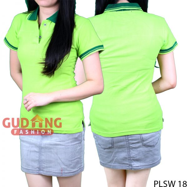 Polo Shirts Cantik Wanita Cotton Pique Hijau Stabilo
