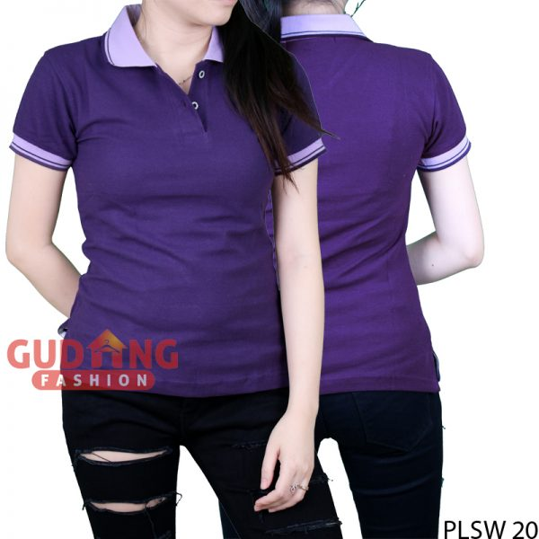 Kaos Kerah Polo Shirt Basic Wanita Cotton Pique Ungu Tua