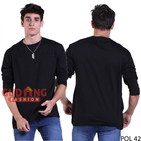 Kaos Polos O-Neck Cotton Lengan Panjang Cotton Combed Hitam