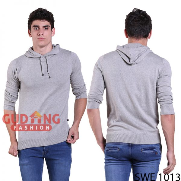 Sweater Casual Simple Pria Rajut Abu Muda