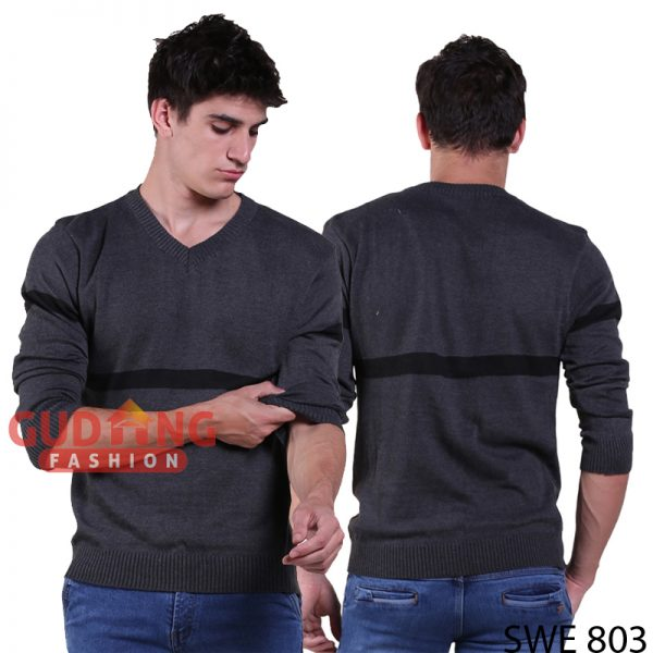 Sweater Pria Simple Casual Rajut Abu