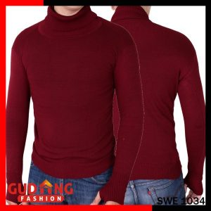 Sweater Polos Oblong Rajut Tangan Panjang Long Knitt Basic Rajut Tebal Maroon – SWE 1034