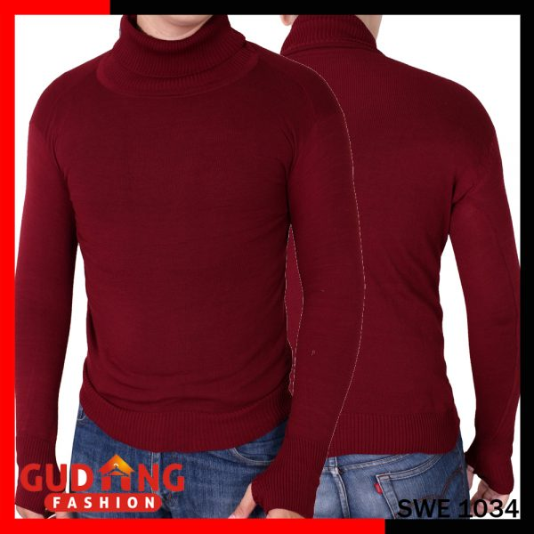 Sweater Polos Oblong Rajut Tangan Panjang Long Knitt Basic Rajut Tebal Maroon